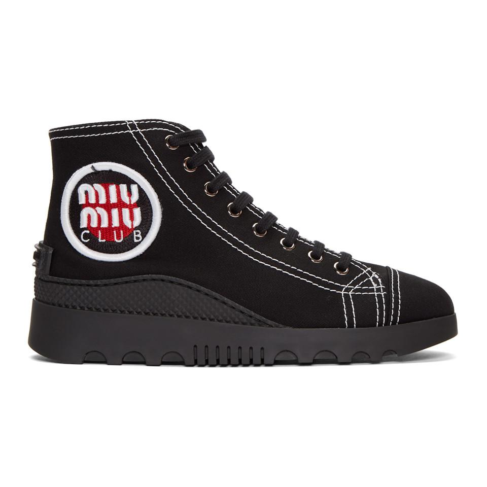 Miu Miu Back Logo Patch High-Top Sneakers vWBuVecwiy