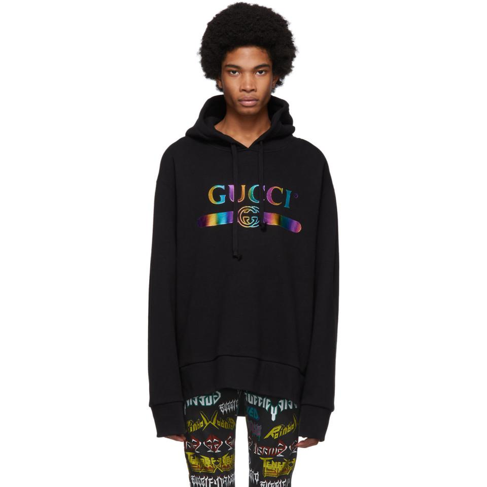2dcaffe337b Lyst - Gucci Black Rainbow Logo Hoodie in Black for Men