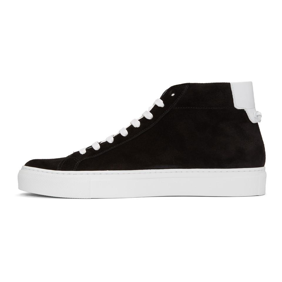 Givenchy Black & White Suede Urban Knots Mid-Top Sneakers 6VFso