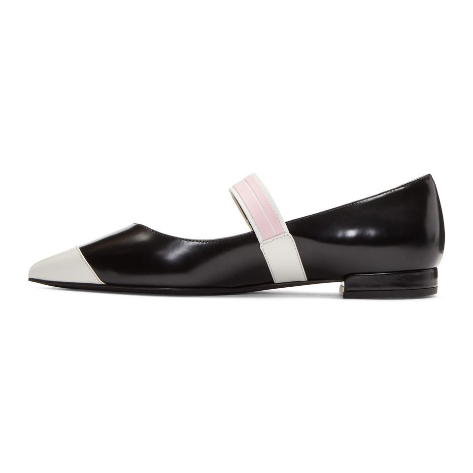 Prada Black & White Ballerina Flats xy2WdFzyRs
