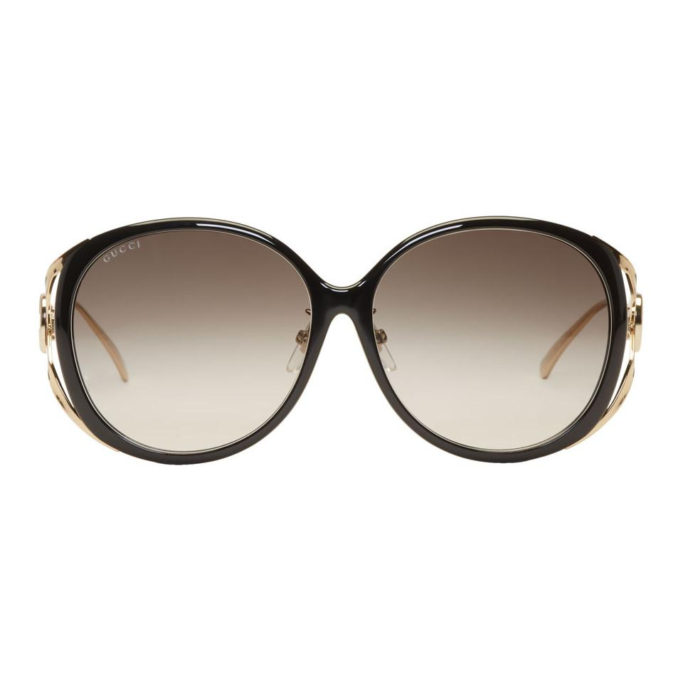 dba59f307077 Gucci Black And Gold Round Injected Sunglasses in Black - Lyst