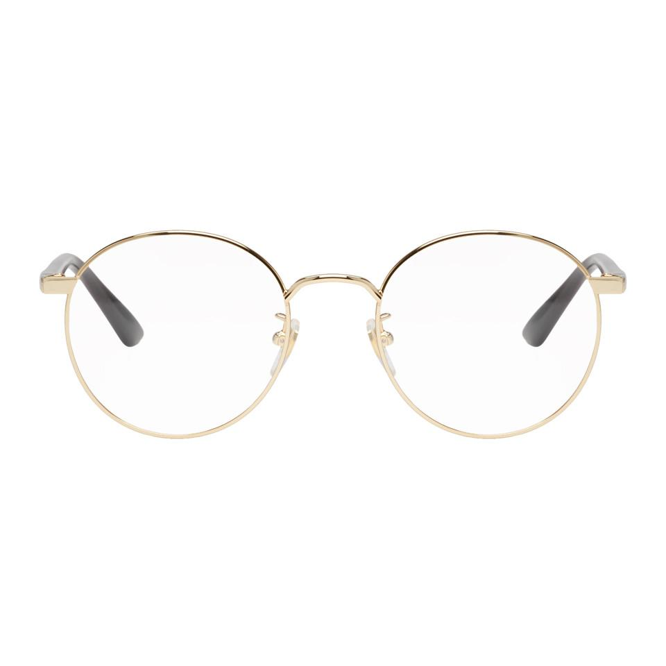 494660517ec Gucci Gold Round Glasses in Metallic for Men - Lyst