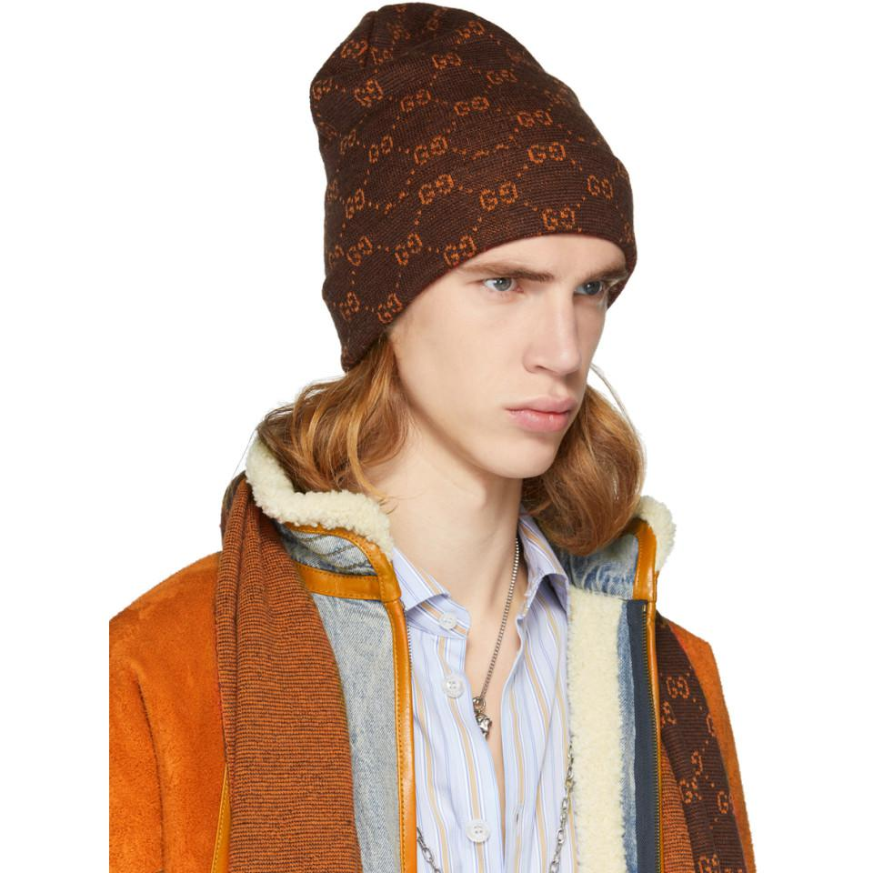 8f7bbd33 Gucci - Brown And Orange Alpaca GG Supreme Beanie for Men - Lyst. View  fullscreen