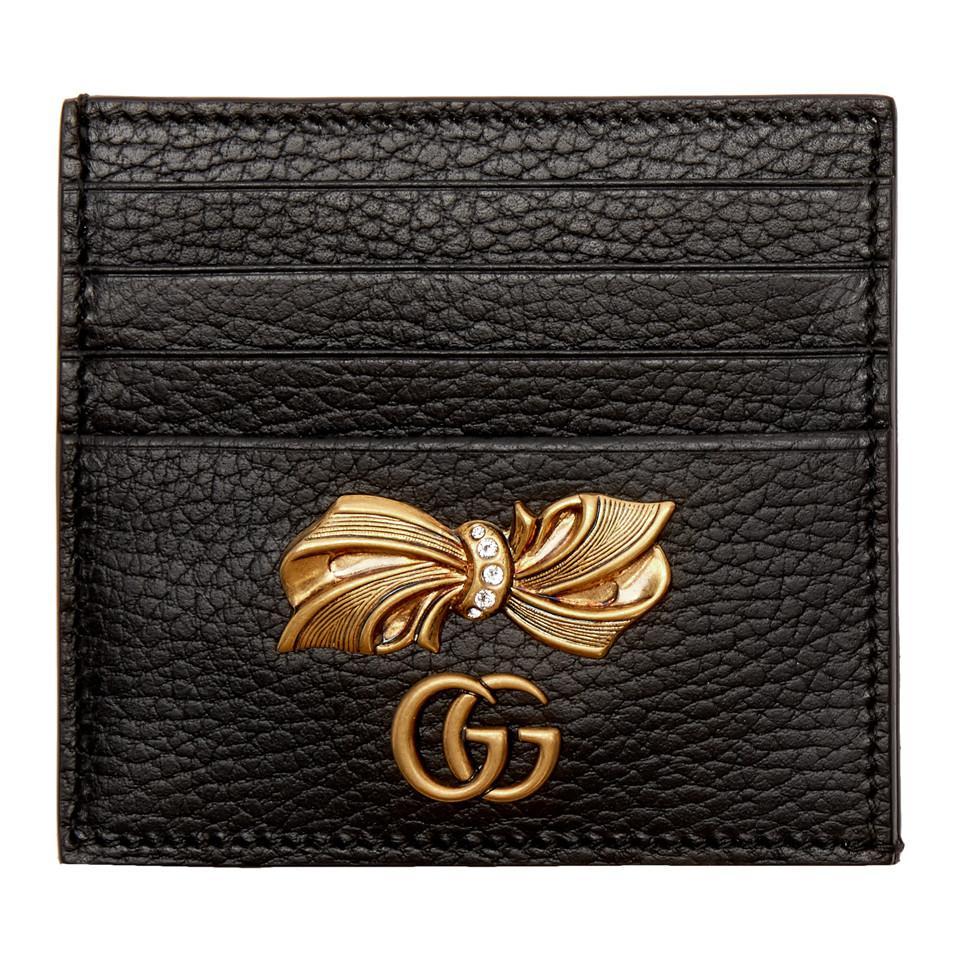 263331ccef5 Gucci Black Petit Bow Card Holder in Black - Lyst