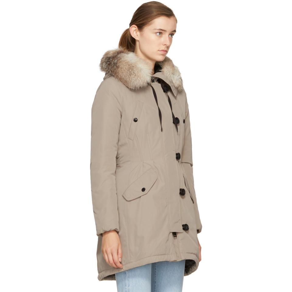 Coat Lyst Moncler y Abajo Multicolor Taupe Arehdel Piel tCqYq0wr