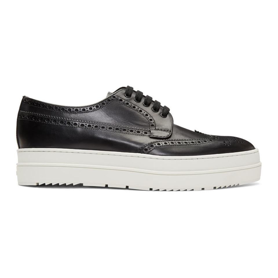 af717248ca18 Prada Black And White Platform Brogues in Black for Men - Lyst