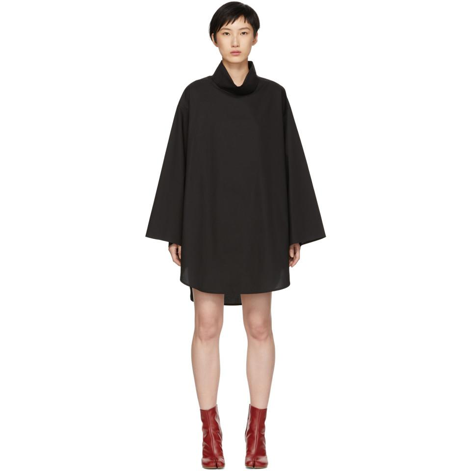 Black Poplin Turtleneck Dress Maison Martin Margiela FIHz3