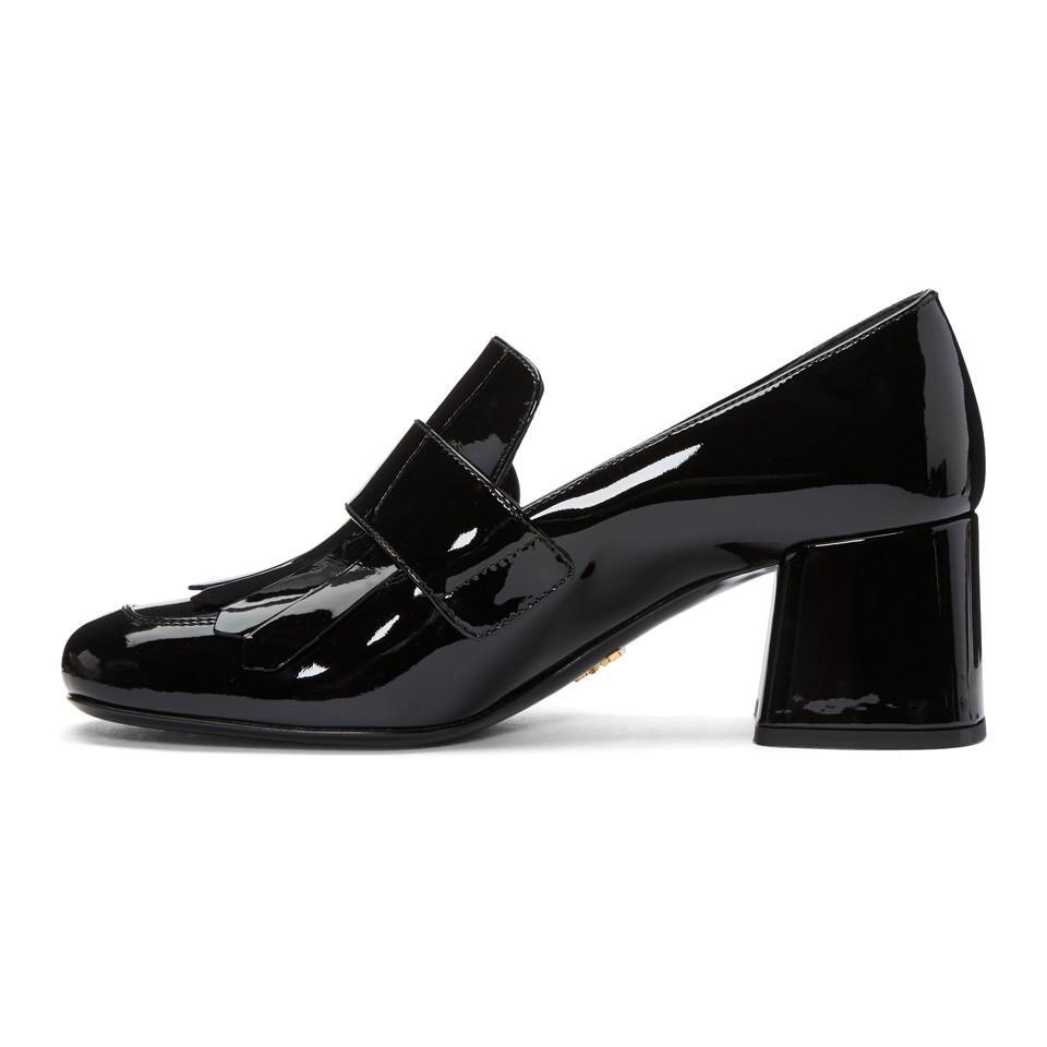 best service 60814 ff10f prada-black-Black-Patent-Fringed-Loafer-Heels.jpeg