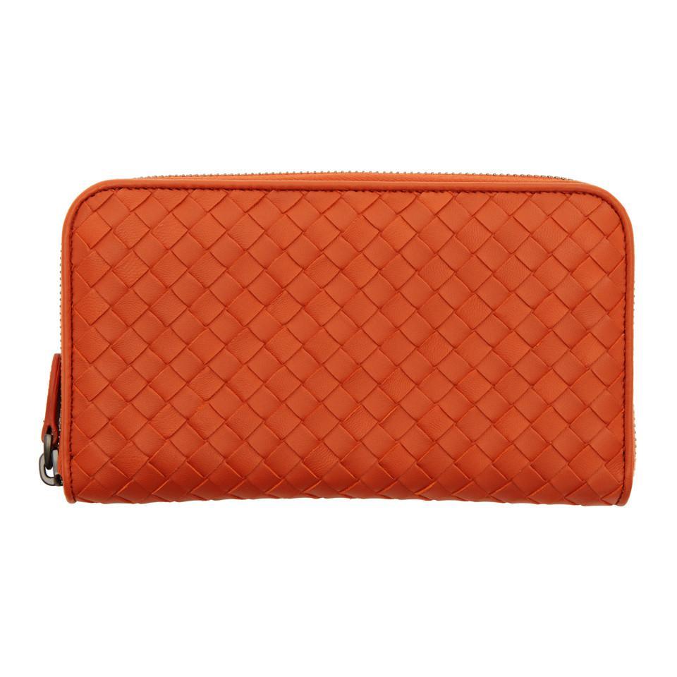 terracotta Intrecciato zip around wallet - Yellow & Orange Bottega Veneta NlnQ39