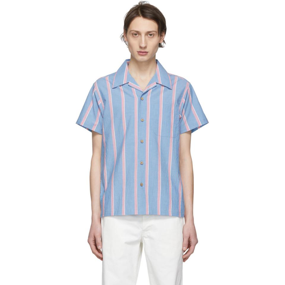 d0cdbedcc78 Lyst - Naked   Famous Blue And Pink Chambray Slub Stripe Aloha Shirt ...