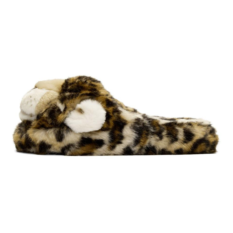Brown Faux-Fur Leopard Slippers Dolce & Gabbana 7yVVPv
