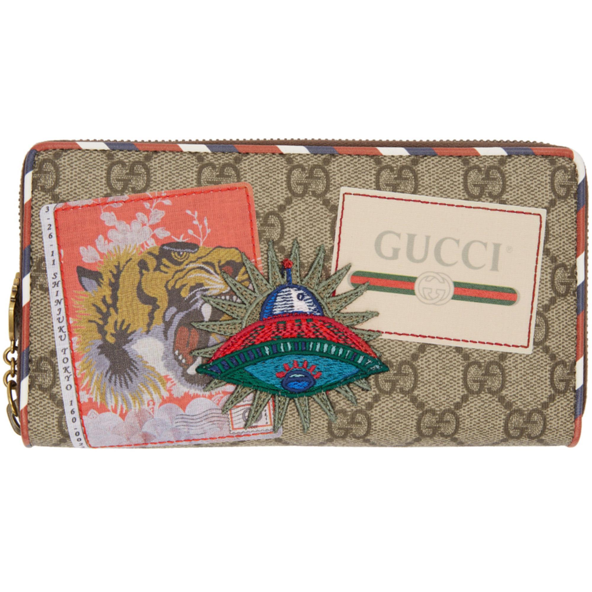 Lyst - Portefeuille à glissière beige GG Supreme Courrier Gucci en ... c46c8d4e5f1