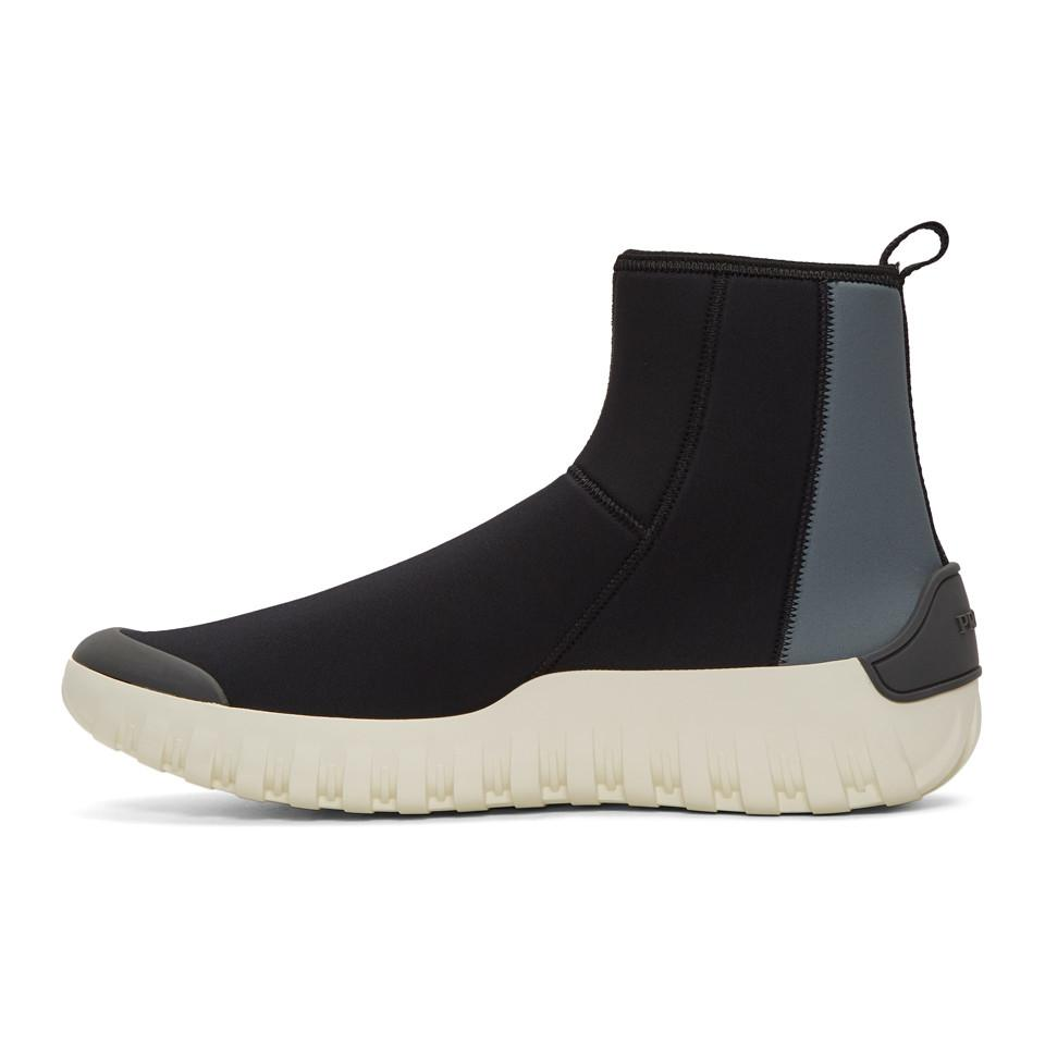 Prada & Grey Neoprene Frog Sock High-Top Sneakers