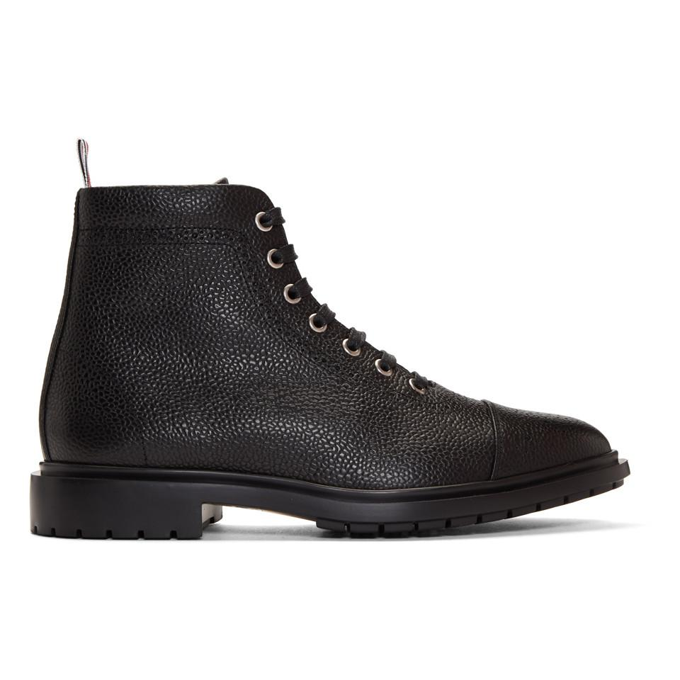 Black Toe Cap Lace-Up Boots Thom Browne Er8Ufawtyw