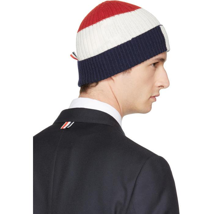 Navy Cashmere Cable Knit Four Bar Beanie Thom Browne A1XhNlv7