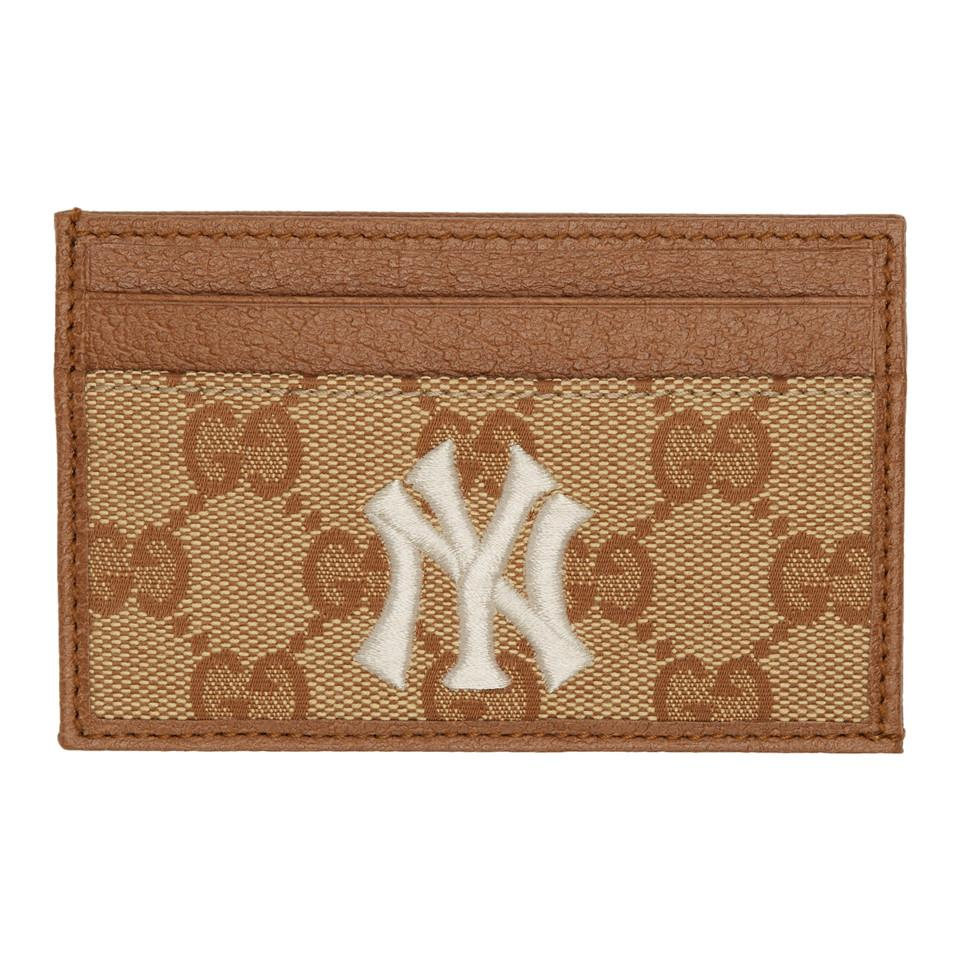 60d27a373b52 Gucci. Men's Natural Beige And Brown Ny Yankees Edition Small GG Patch ...