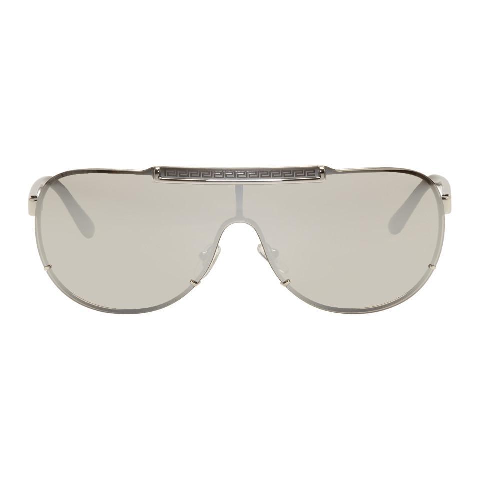 Lyst - Lunettes de soleil aviateur argentees Rock Icon Greca Versace ... 61360eda98f7