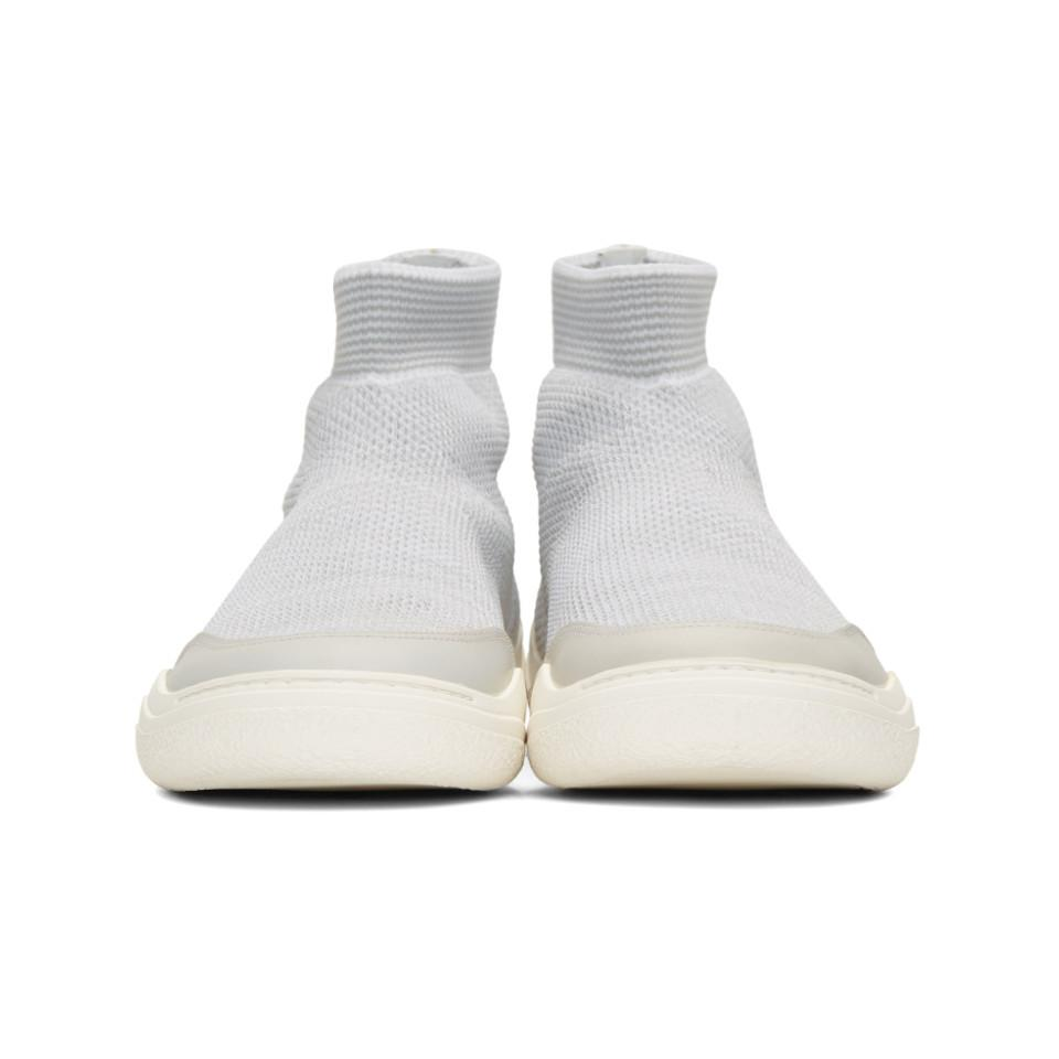 Lanvin Off-White & Grey Knit High-Top Sneakers bNFXLn