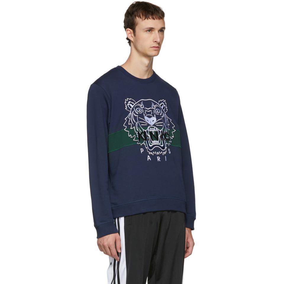 ad3c0ec7691 KENZO - Blue Pull molletonne bleu marine Urban Tiger for Men - Lyst.  Afficher en plein écran