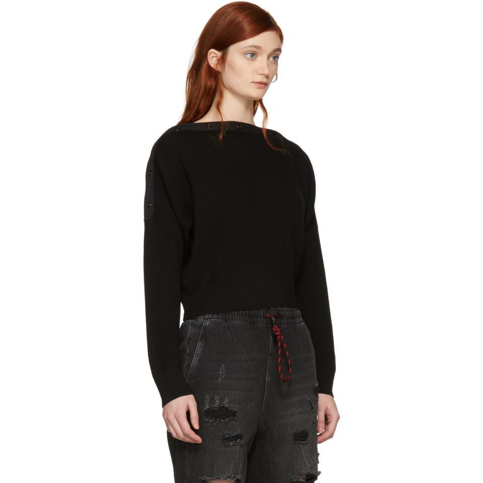 descubiertos hombros Alexander con Wang descubiertos Suéter con negro corte hombros YS1xT70