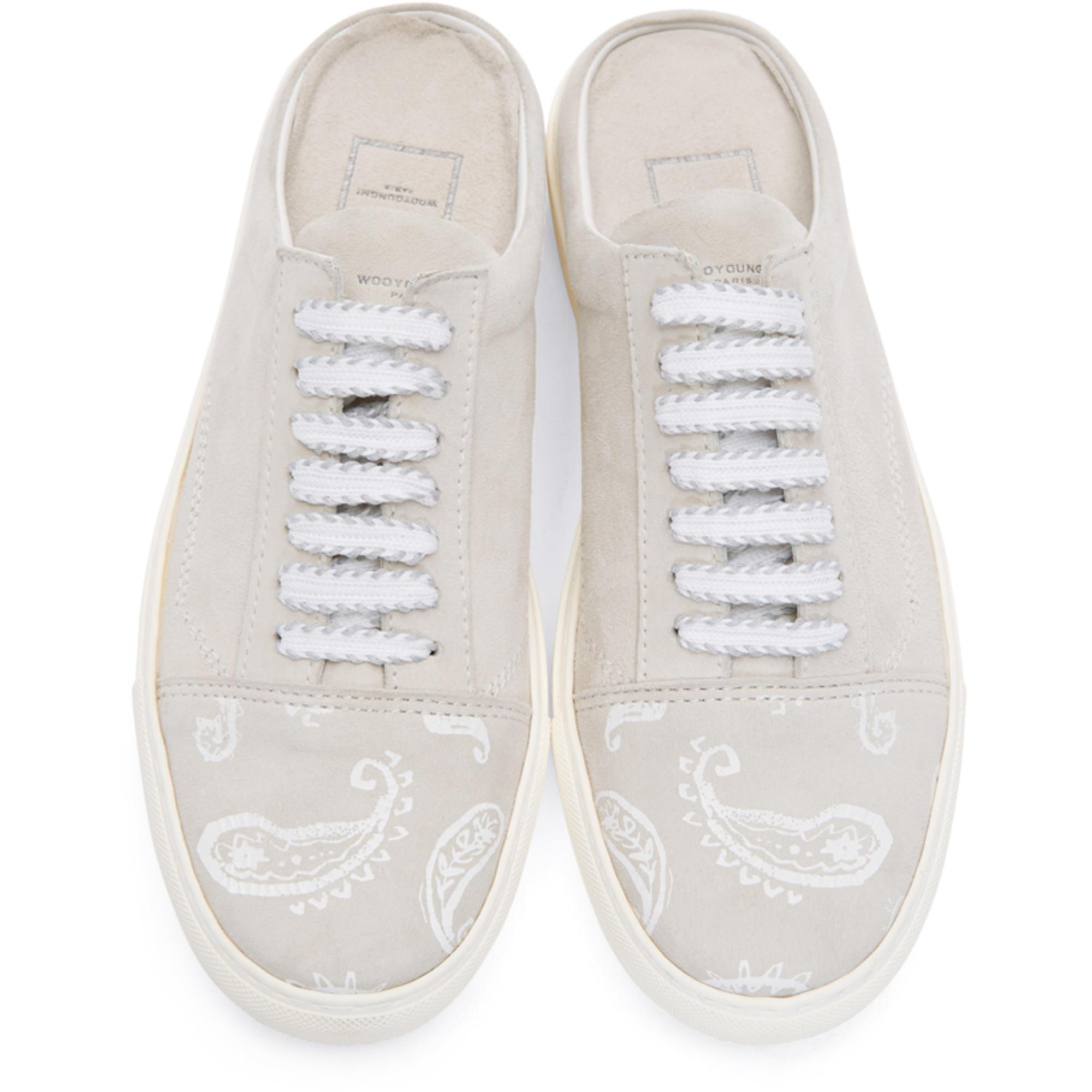 Grey Paisley Open Back Sneakers Wooyoungmi Outlet Marketable ZfLJr