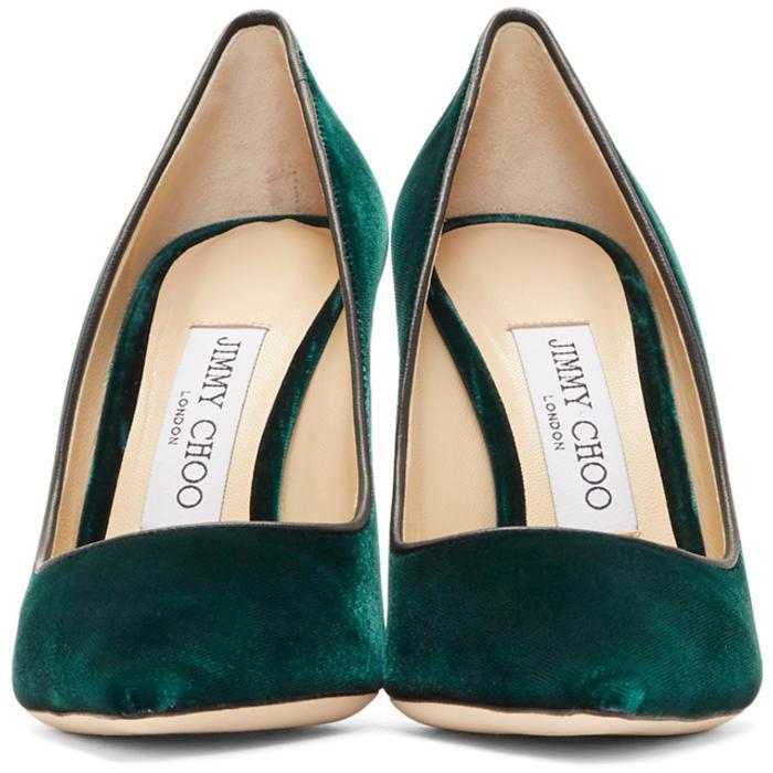 6152d23bcad Lyst - Jimmy Choo Green Velvet Romy Heels in Green