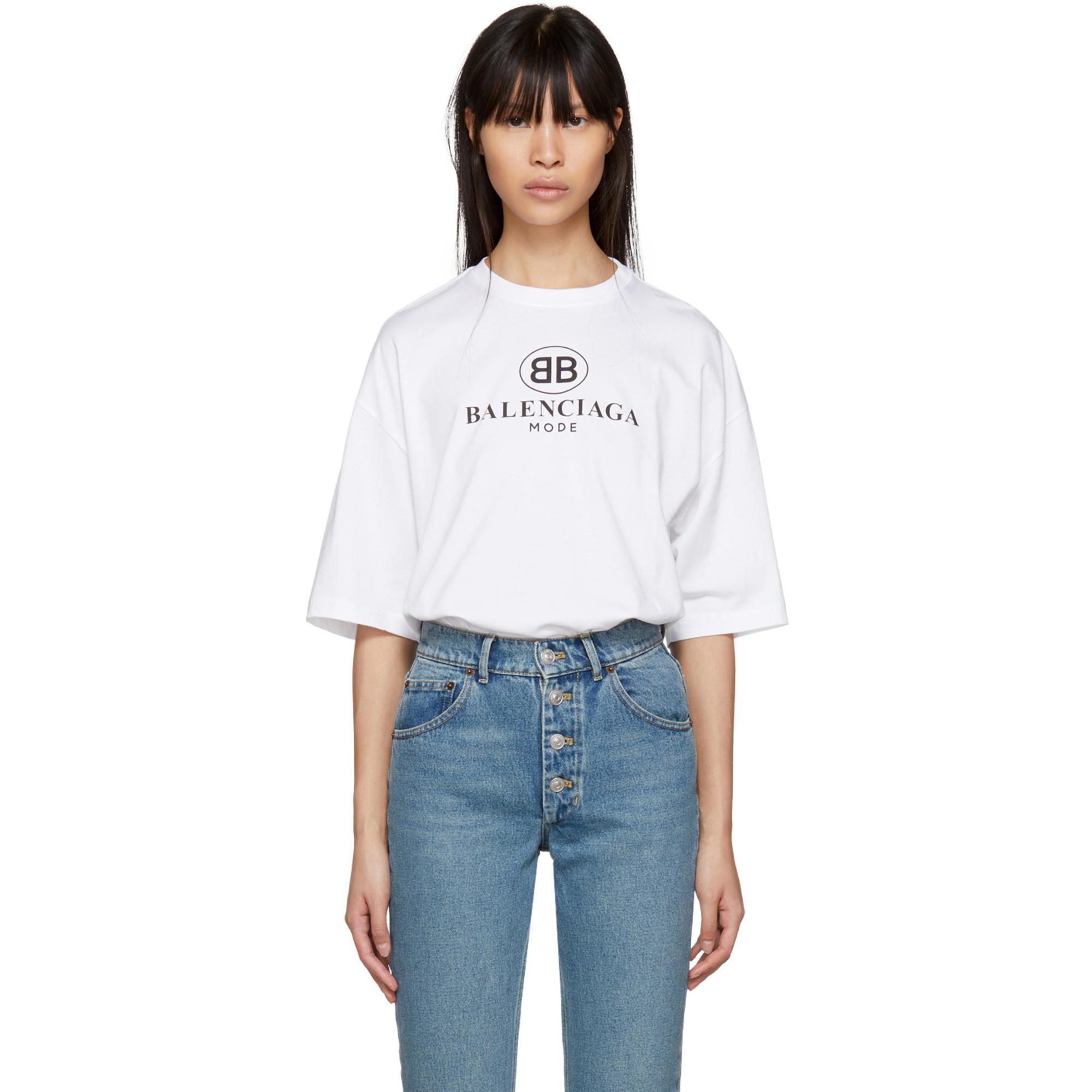 d8c3c6092f89c Lyst - Balenciaga White Bb Mode T-shirt in White