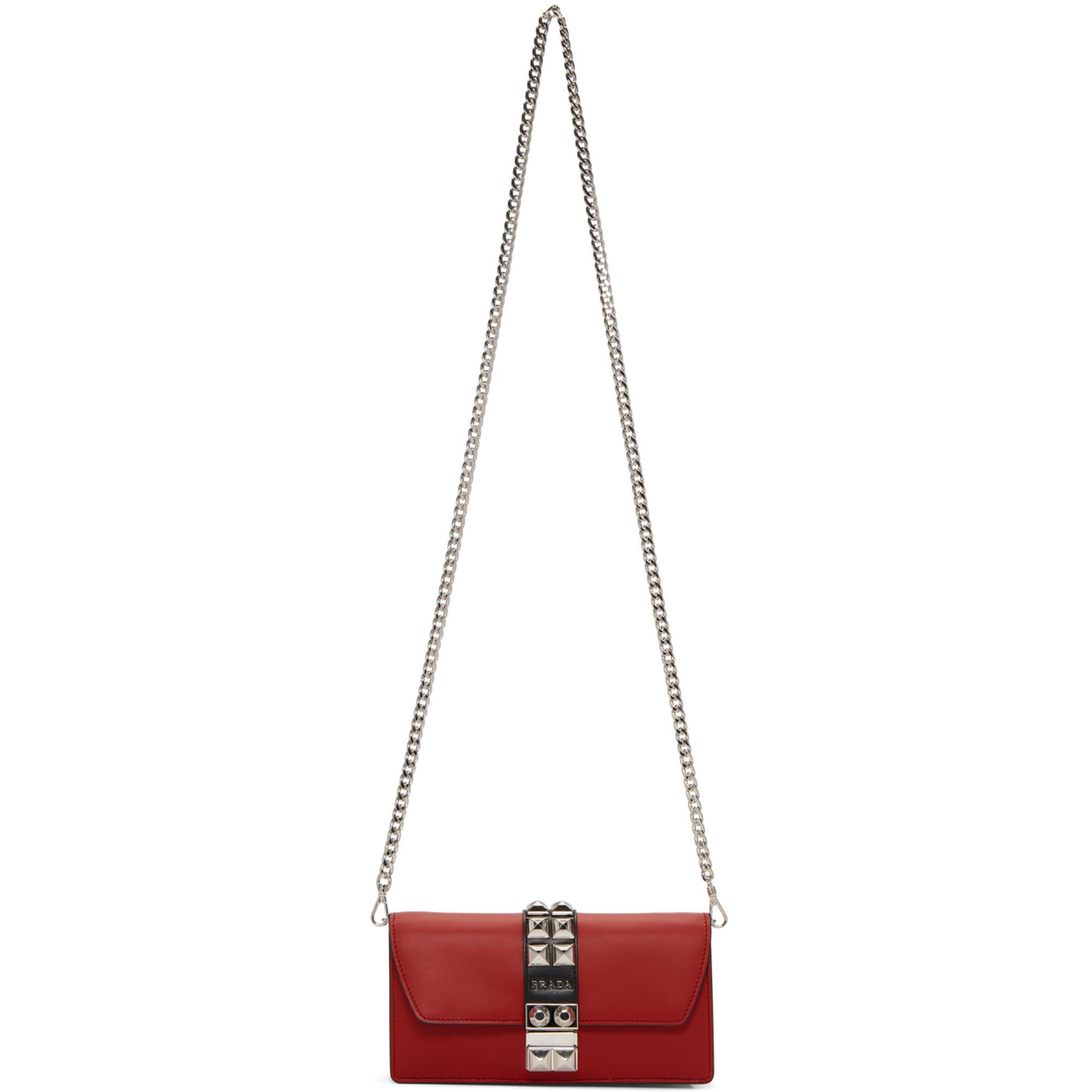 f43890f75747 ... ebay lyst prada red studded wallet chain bag in red f1ccf 3b3bb