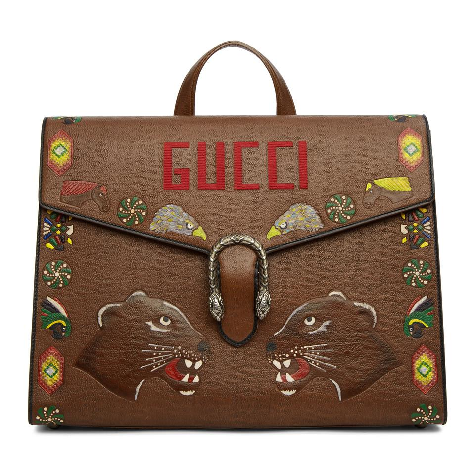 Brown Hand-Painted Dionysus Briefcase Gucci d5FvXV1A5