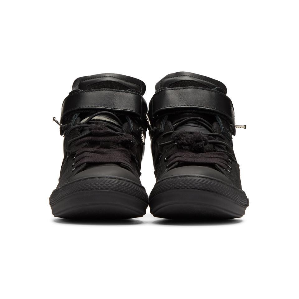 64808de6664 Maison Margiela Black Mix Fabric High-top Sneakers in Black for Men ...