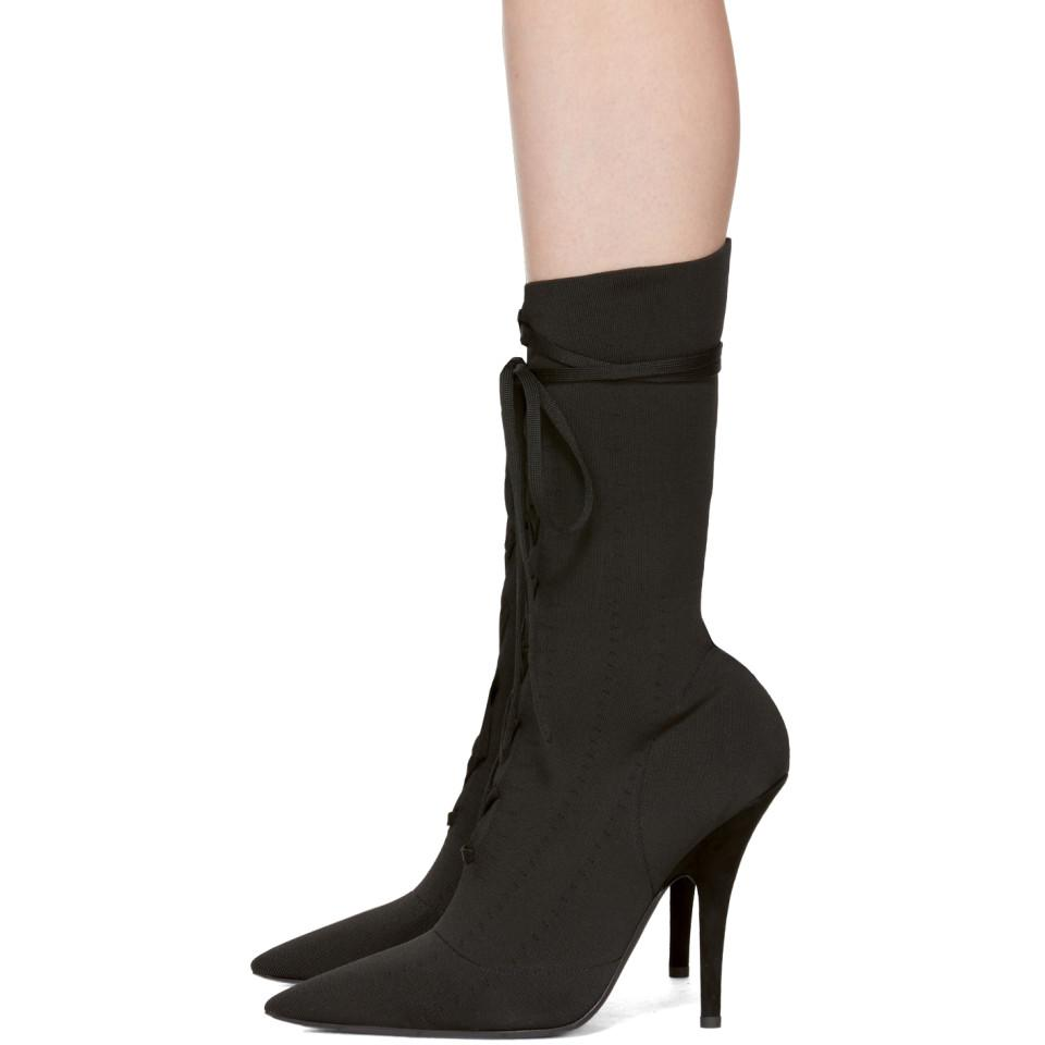 5a9dac82da7 Lyst - Yeezy Black Knit Lace-up Ankle Boots in Black