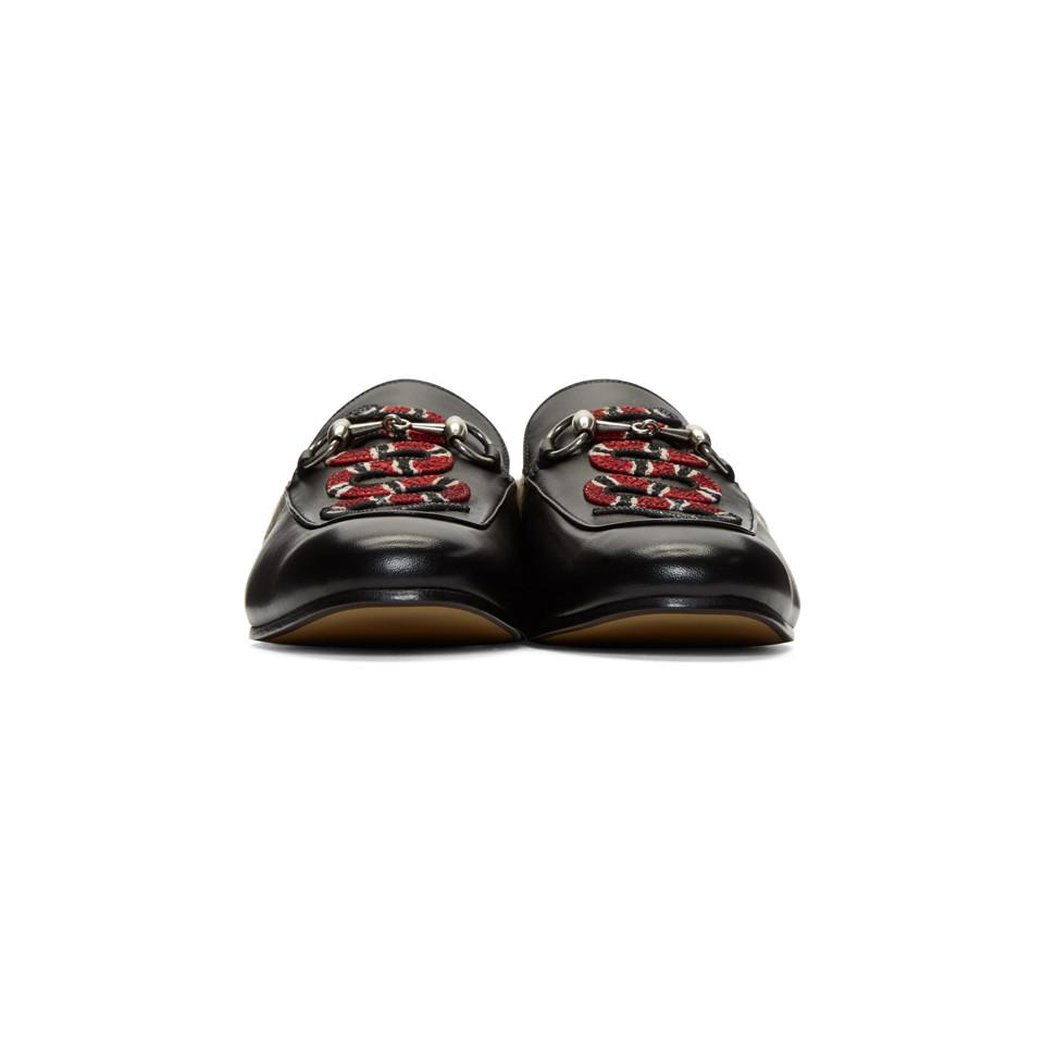 4684d19a3 Gucci Black Snake Fur Princetown Slippers in Black for Men - Lyst