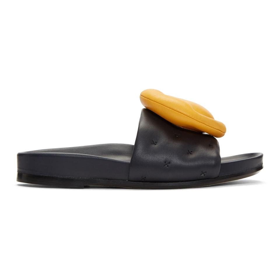 Anya Hindmarch Navy Chubby Wink Slides aaAkP76