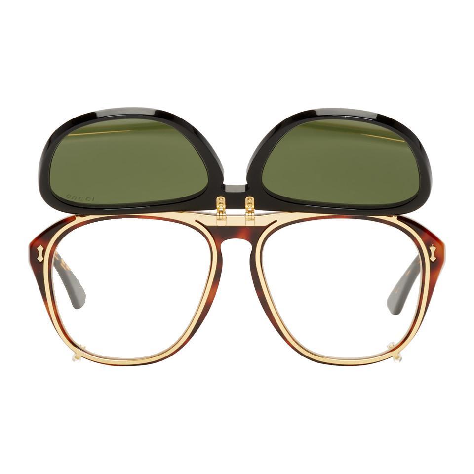 604ea879ac Gucci - Multicolor Tortoiseshell And Black Opulent Luxury Flip-up Sunglasses  for Men - Lyst. View fullscreen
