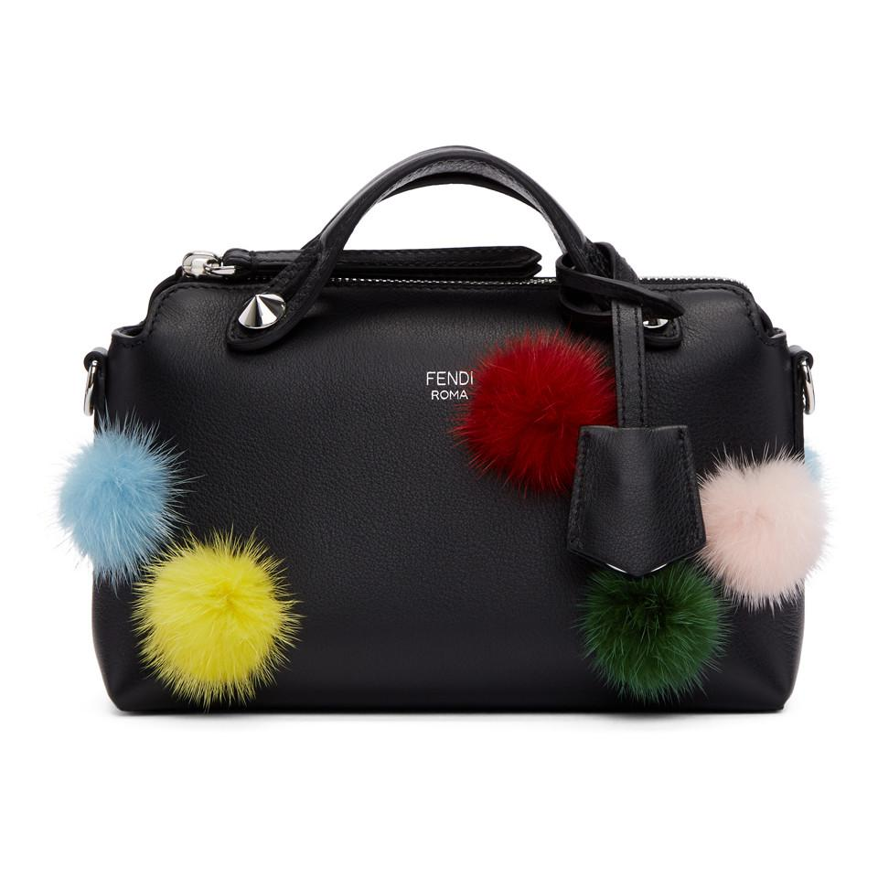 75563d740dc6 ... cheap lyst fendi black mini pom pom by the way boston bag in black  0aa8a 8cf15 ...
