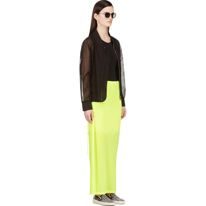 lyst yohji yamamoto yellow neon maxi skirt in yellow