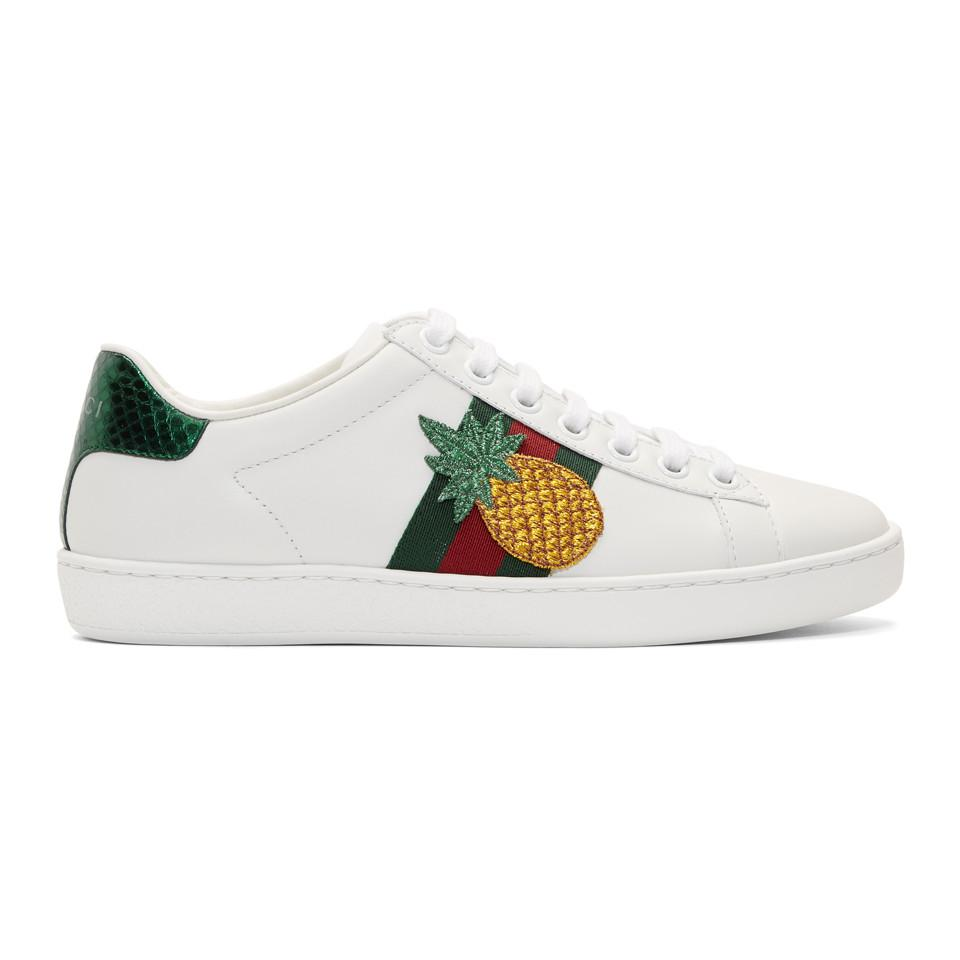 7778130f2333f2 Lyst gucci pineapple ladybug ace sneakers in white jpg 960x960 Gucvi shoes