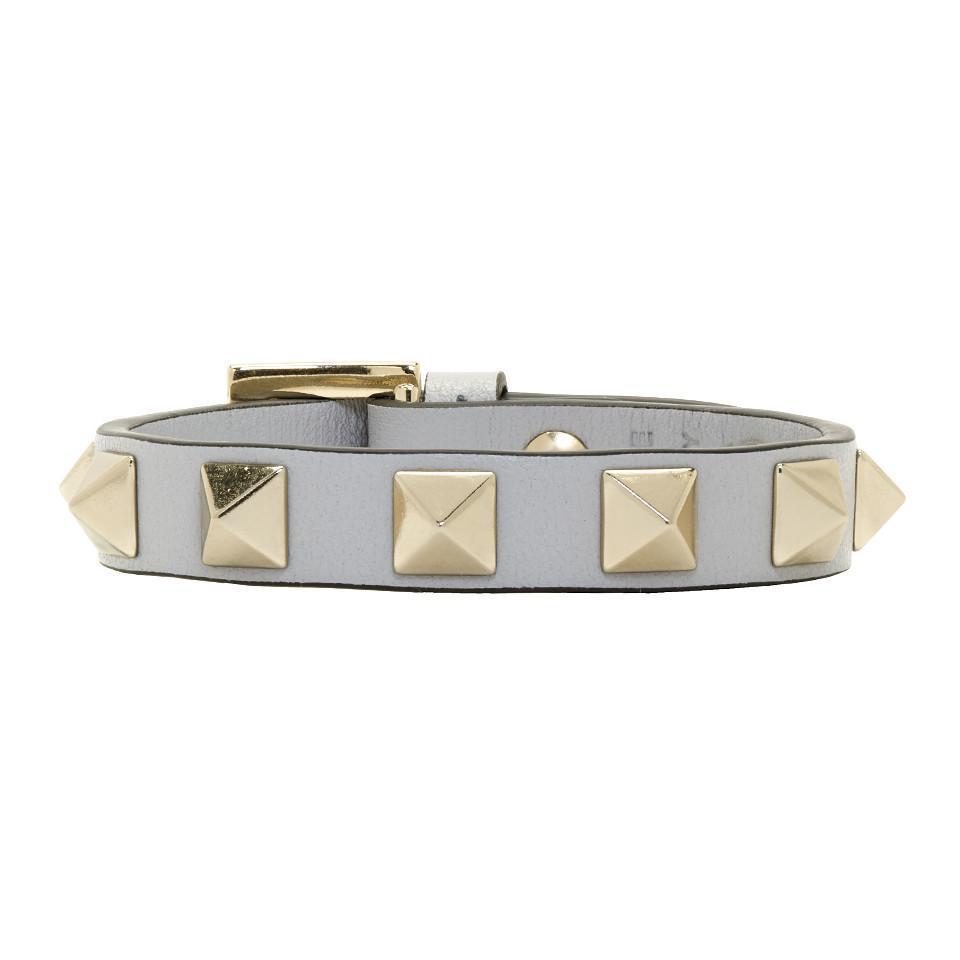 Grey Valentino Garavani Single Rockstud Bracelet Valentino Lhofgjf