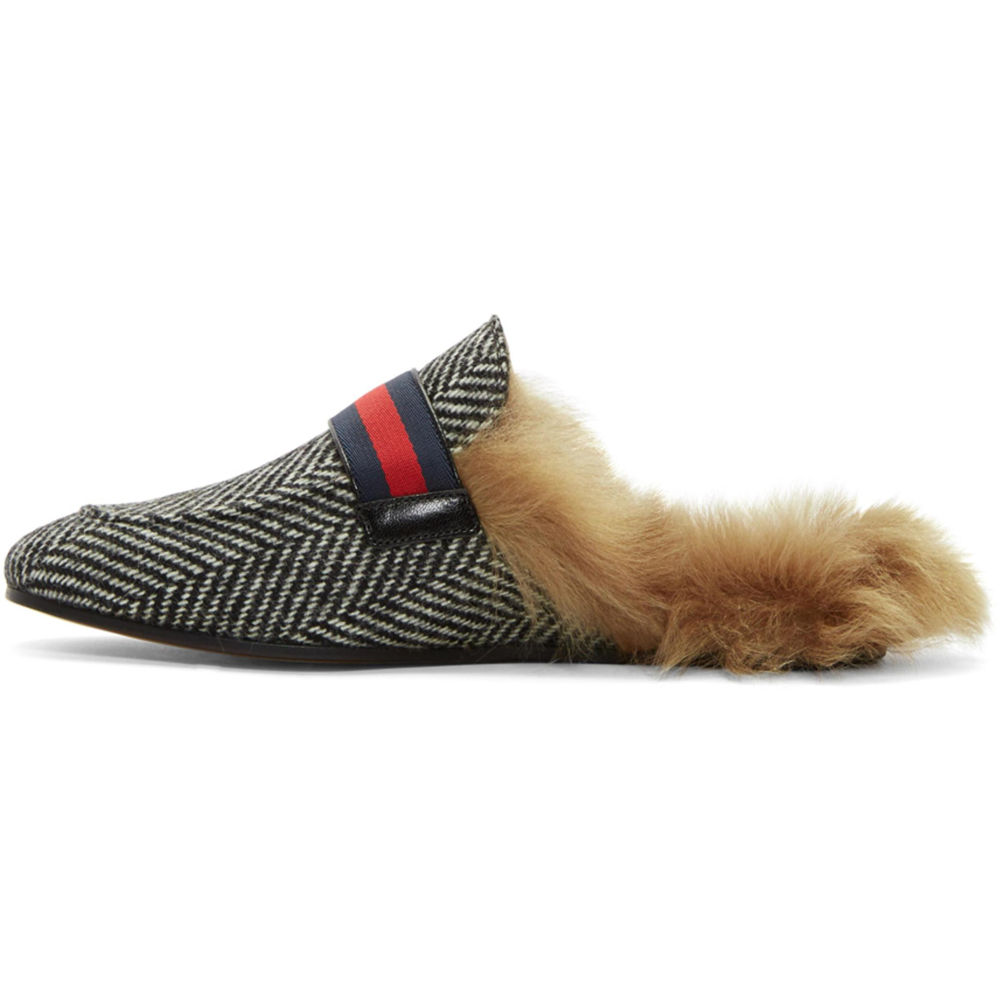 Black and White Herringbone Wool-Lined Princetown Slip-On Loafers Gucci 4Gy8bEbhBm