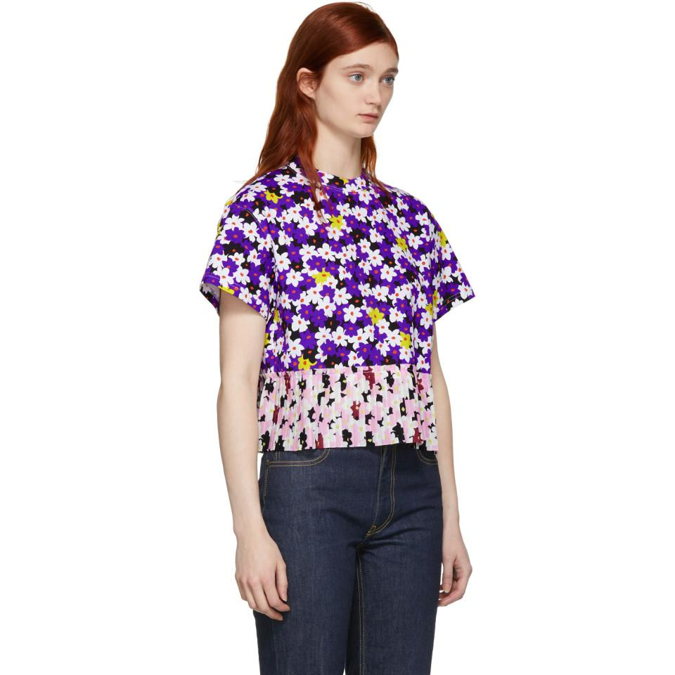 db194572 Lyst - KENZO Multicolor Mix Floral Pleated T-shirt in Purple