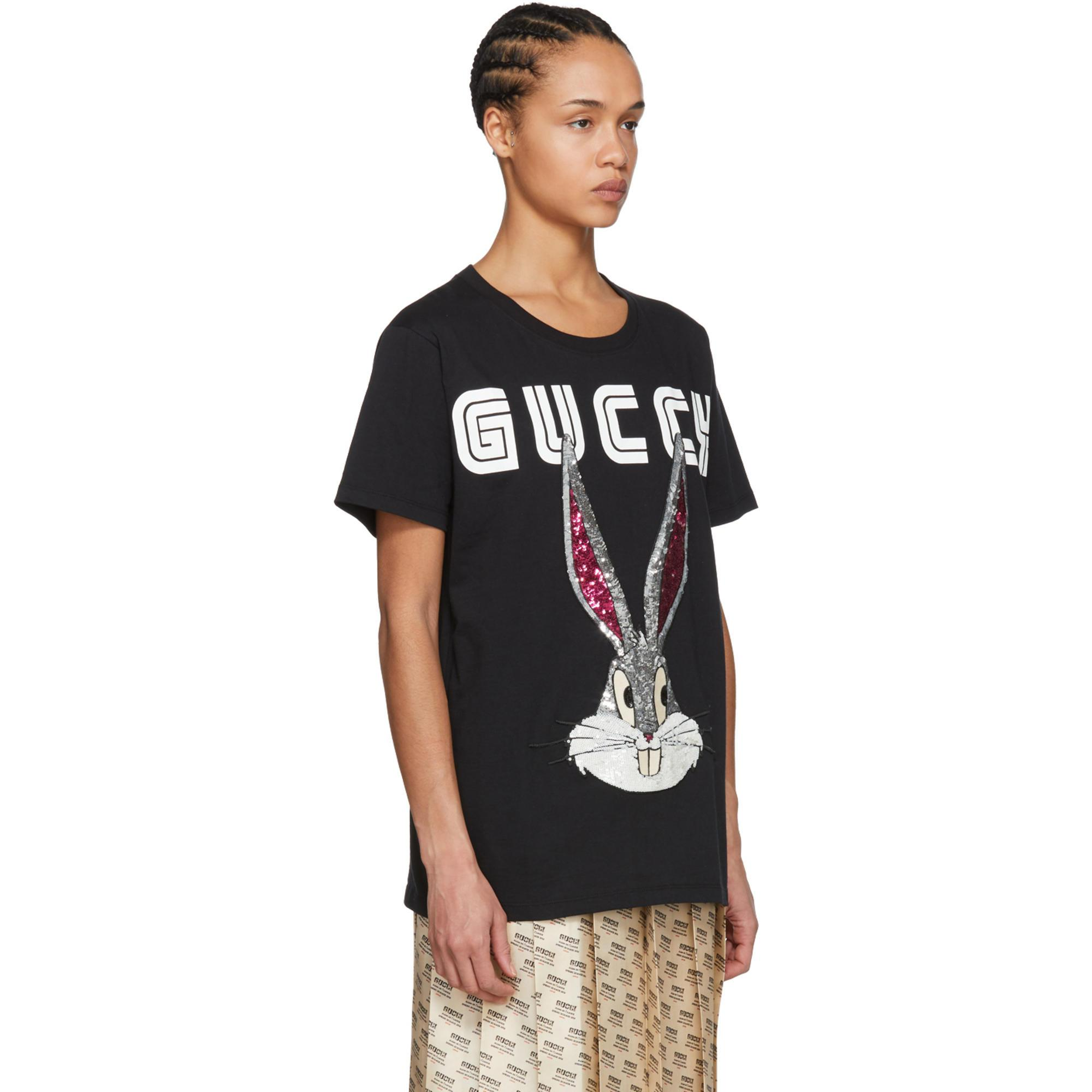 4f7d3f94a095 Lyst - Gucci Black Guccy Crystal Bugs Bunny T-shirt in Black