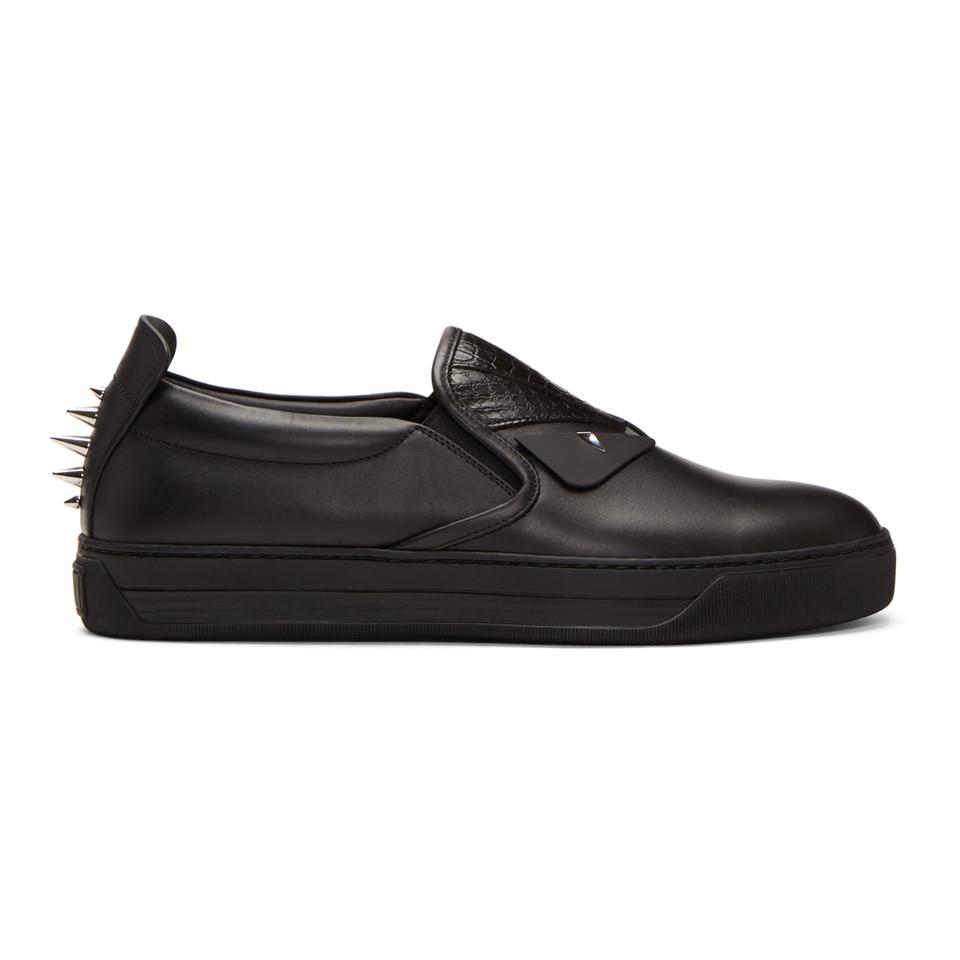 Fendi Black Snakeskin 'Bag Bugs' Slip-On Sneakers