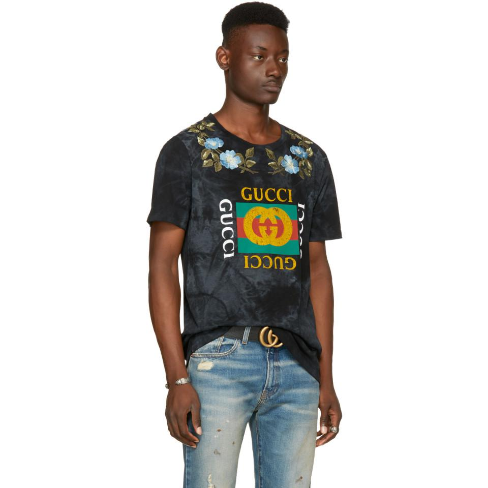 f8a077b9 Gucci Black Floral Logo T-shirt in Black for Men - Lyst