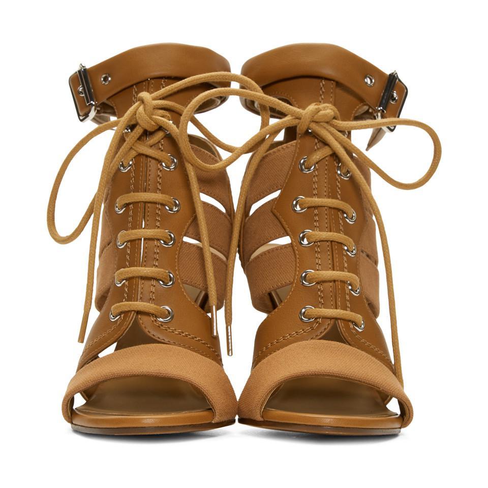 Chloé Brown Lace-Up Heeled Sandals YTlLw2uj