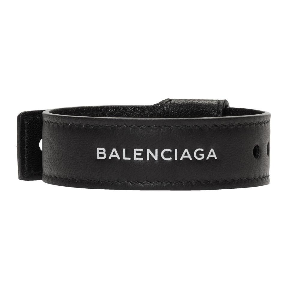 bb1a633bc397c Balenciaga - Black Leather Party Bracelet for Men - Lyst. View fullscreen