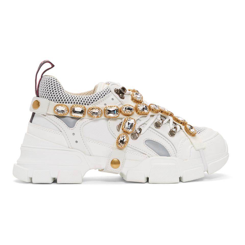 eec6e124da933 Lyst - Gucci White Removable Crystals Flashtrek Sneakers in White ...