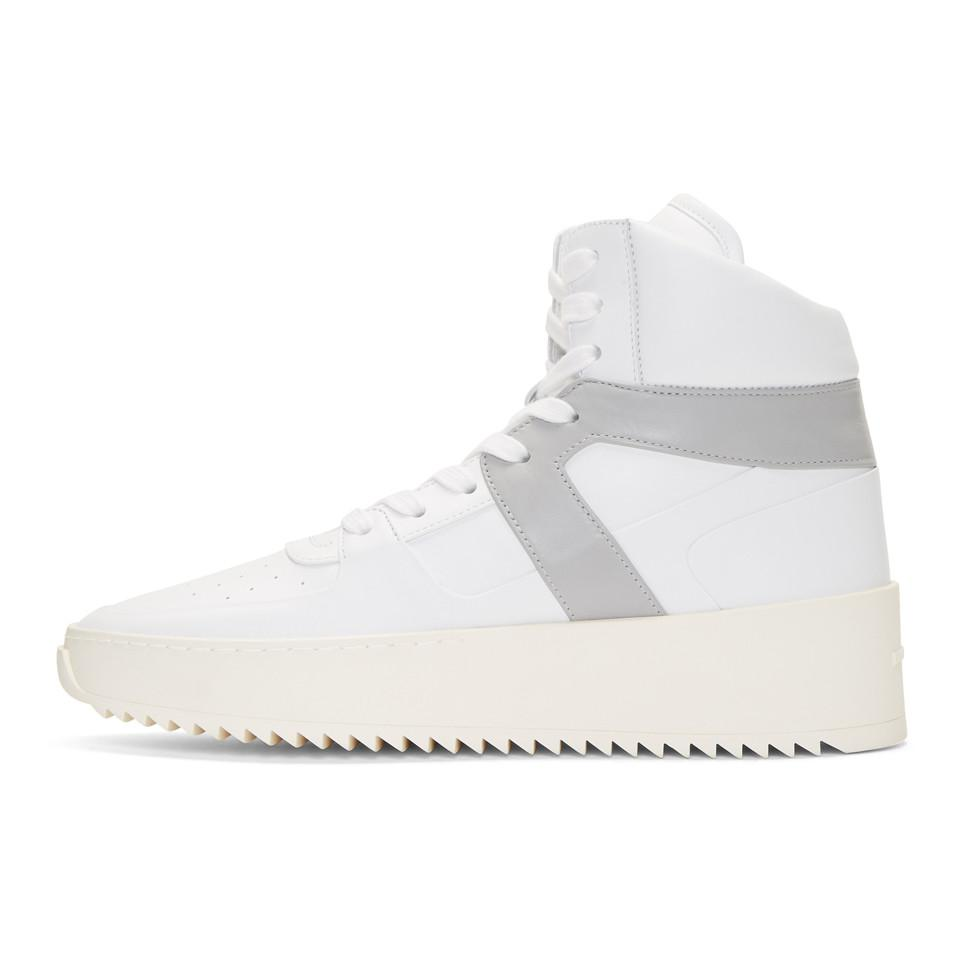 Fear of God White & Grey Basketball High-Top Sneakers ubExjhuLmB