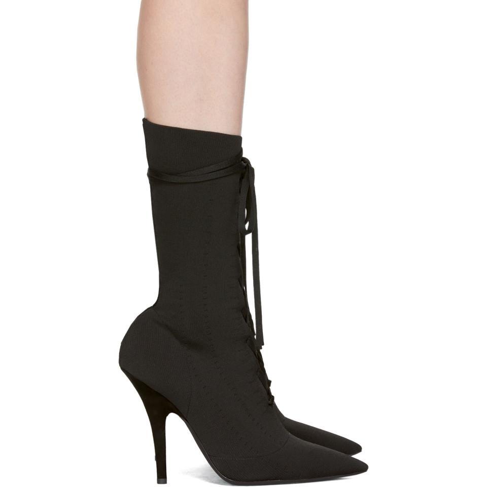 YEEZY Black Knit Lace-Up Ankle Boots kcJw8ljN