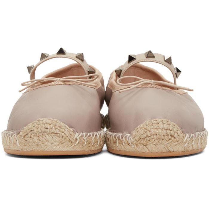 89523c48f Valentino Pink Rockstud Ballerina Espadrilles in Pink - Lyst