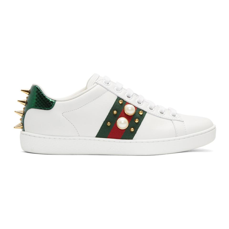 Gucci White Pearl Stud New Ace Sneakers 1fEn3